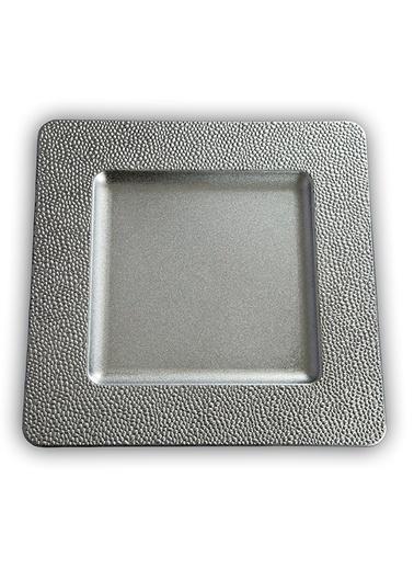 Kanca Ev 6'lı Supla, Kare, Kenarı Mini Kabart Gümüş